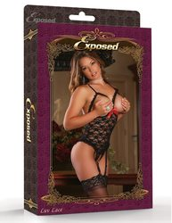 CUPLESS CROTCHLESS TEDDY BLACK S/M (LUV LACE)