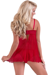 VALENTINA FLY-AWAY BABYDOLL & CHEEKY PANTY SET RED LARGE