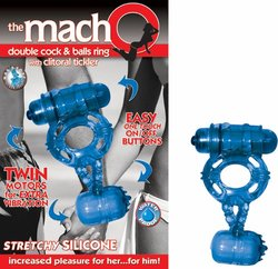 MACHO DOUBLE COCK & BALLS BLUE RING W/CLITORAL TICKLER