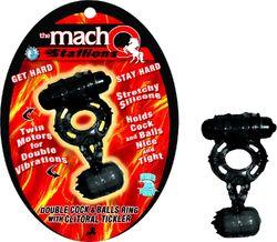 MACHO STALLIONS COCK & BALL RING W/CLIT TICKLER