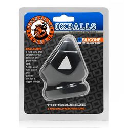 TRI SQUEEZE COCKSLING BALL STRETCHER OXBALLS SILICONE TPR BLEND BLACK ICE (NET)