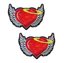 PASTEASE ANGEL HEART RED GLITTER HEARTS W/ WINGS