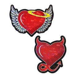 PASTEASE DEVIL HEART RED GLITTER HEARTS W/ WINGS