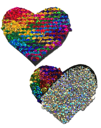 PASTEASE RAINBOW & SILVER GLITTER COLOR CHANGING SEQUIN HEART