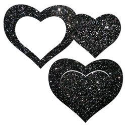 PASTEASE GLITTER PEEK A BOOB HEARTS BLACK