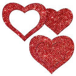 PASTEASE GLITTER PEEK A BOOB HEARTS RED