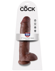 KING COCK 11 IN COCK W/BALLS BROWN