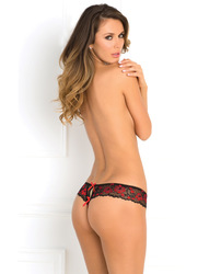 CROTCHLESS LACE THONG W/ BOWS RED S/M (out mid Aug)