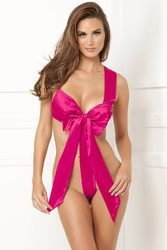 SATIN BOW TEDDY HOT PINK S/M (NET)