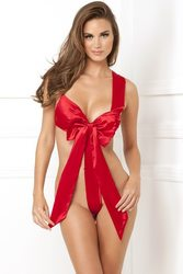 SATIN BOW TEDDY RED M/L (NET)