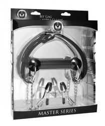 MASTER SERIES EQUINE SILICONE BIT GAG W/NIPPLE CLAMPS