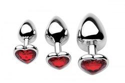 FRISKY CHROME HEARTS 3 PIECE ANAL PLUGS W/GEM ACCENTS