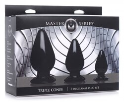 MASTER SERIES TRIPLE CONES 3PC ANAL PLUG SET BLACK