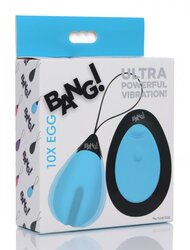 BANG! 10X VIBRATING SILICONE EGG W/ REMOTE BLUE