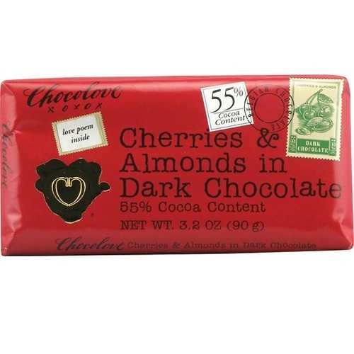 Chocolove Dark Chocolate Bar Cherry & Almond (12x3.2 Oz)