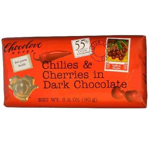 Chocolove Dark Chilies & Cherry Bar (12x3.2 Oz)