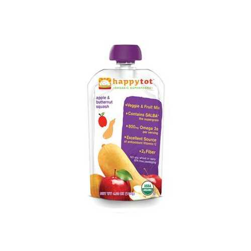 Happy Tot Organic Stage 4 Pouch Food Apple & Squash (16x4.22 Oz)
