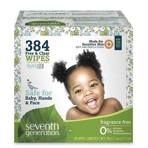 Seventh Generation Free And Clear Baby Wipes With Flip Top Dispenser (1X384 Ct)