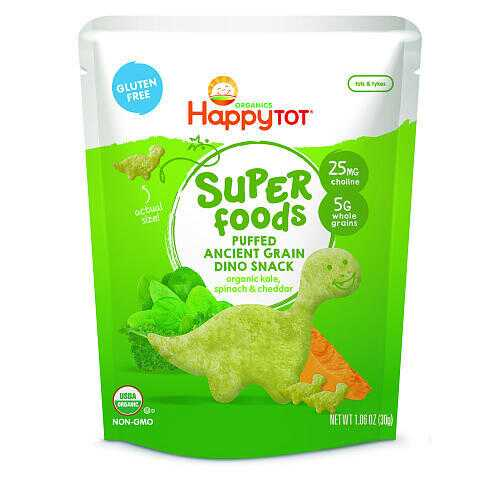Happy Tot Organic Kale, Spinach & Cheddar Super Foods Dino Baby  (8x1.48 OZ)