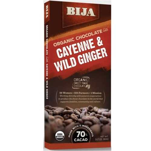 Bija Cayenne and Wild Ginger Chocolate Bar (10x3.17 OZ)