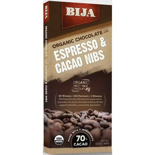 Bija Espresso Cocoa Nibs Chocolate Bar (10x3.17 OZ)