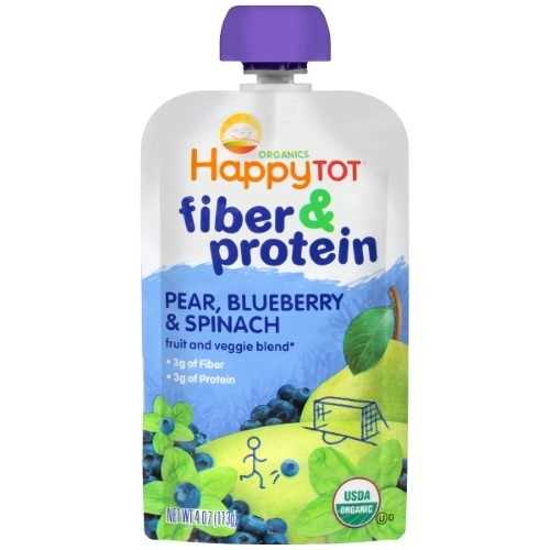 Happy Tot Organics Fiber & Protein, Pears, Blueberries and Spinach (16x4 OZ)