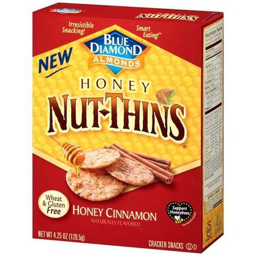 Blue Diamond Almonds Honey Nut-Thins Honey Cinnamon (12x4.25 OZ)
