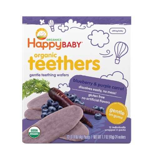 Happy Baby Teethers Teething Wafers Blueberry & Purple Carrot (6x1.7 OZ)