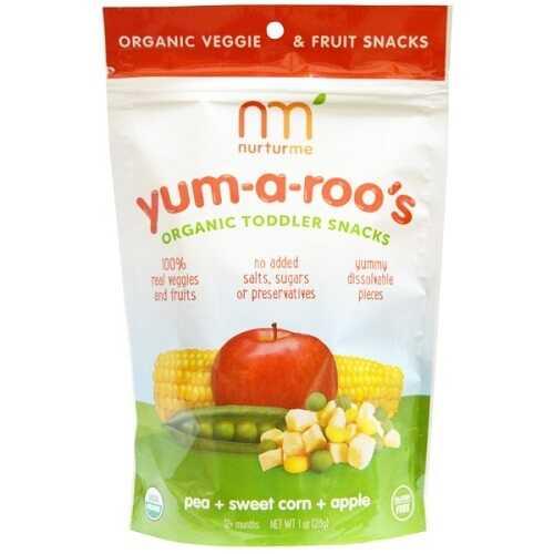 Nurturme Organic Toddler Snacks, Yum-A-Roo'S, Pea + Sweet Corn + Apple (6X1 OZ)
