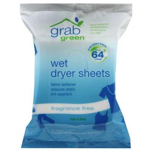 Grab Green Wet Dryer Sheet Fragrance Free (6x32 CT)