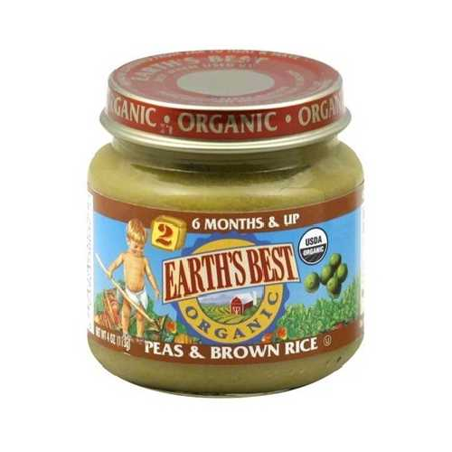 Earth's Best Baby Foods Baby Peas/Brn Rice (12x4OZ )