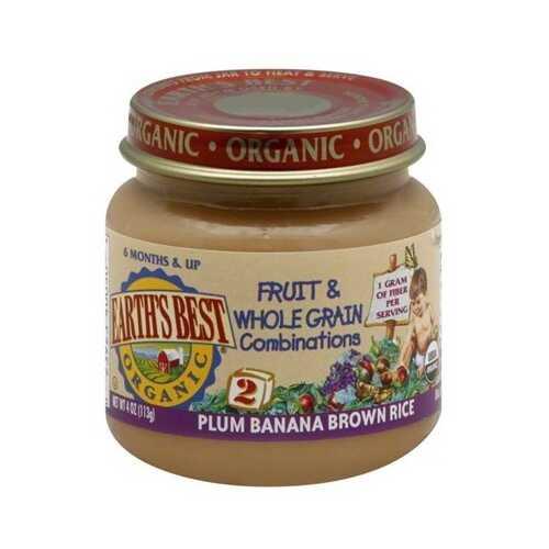 Earth's Best Baby Foods Baby Plum/Ban/Rice (12x4OZ )