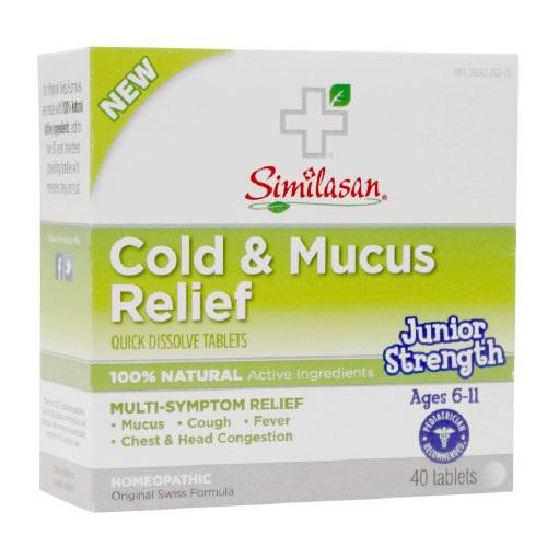 Similasan Cold and Mucus Relief Junior Strength Ages 6 to 11 (1x40 Tabs)