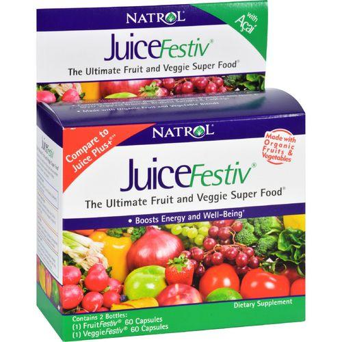 Natrol JuiceFestiv and VeggieFestiv  Buy One Get One Free  2 ct  60 Caps