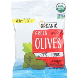 Mediterranean Organic Green Pitted Olives  (12x2.5 OZ)