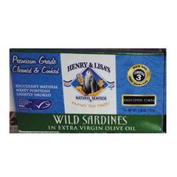Henry & Lisa's Wild Sardines in EVOO (12x4.25 OZ)