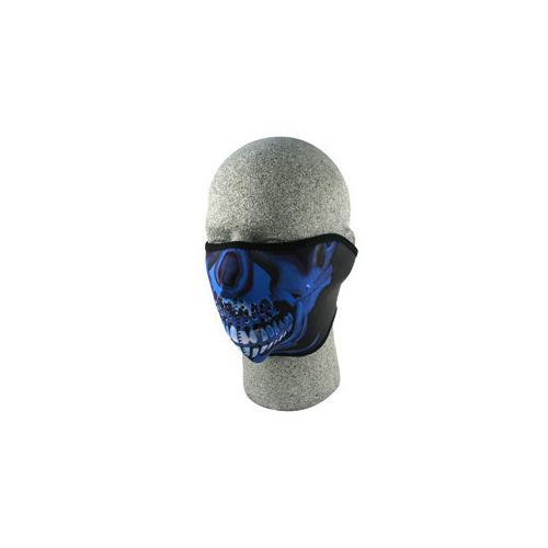Half Mask, Neoprene, Blue Chrome Skull
