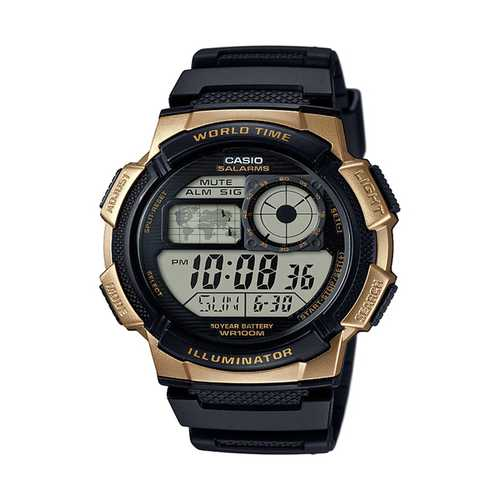 Casio Men's '10 Year Battery' Quartz Stainless Steel and Resin Watch, Color Black (Model: AE-1000W-1A3VCF)