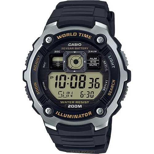 Casio Men's 'Classic' Quartz Resin Casual Watch, Color:Black (Model: AE-2000W-9AVCF)