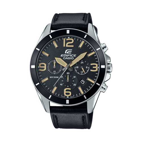 Casio Men's 'Edifice' Quartz Stainless Steel and Leather Watch, Color:Black