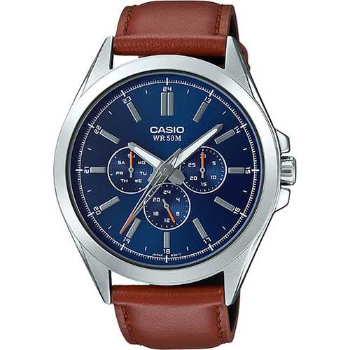 Casio Men's 'Classic' Quartz Stainless Steel and Leather Watch, Color Brown (Model: MTP-SW300L-2AVCF)