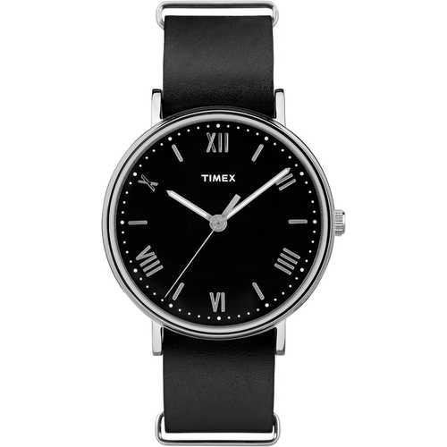 Timex Mens TW2R28600 Southview Silvertone Black Leather Strap Watch
