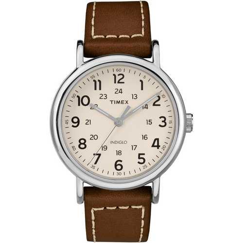 Timex Men's TW2R42400 Weekender 40 Brown/Cream Leather Strap Watch