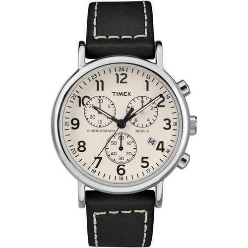 Timex Men's TW2R42800 Weekender Chrono Black/Cream Leather Strap Watch