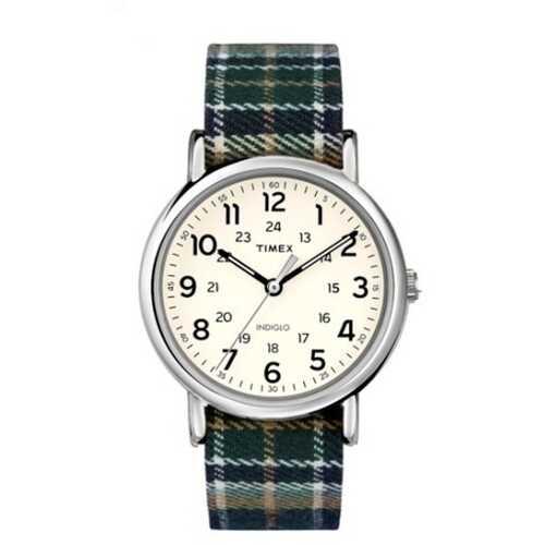 Timex TW2R51400 Weekender   38mm Plaid Fabric Strap Watch