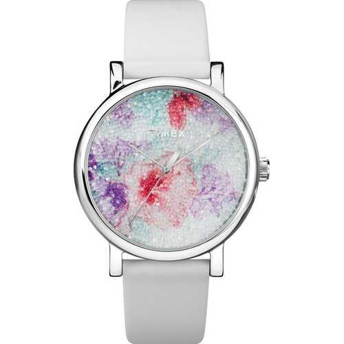 Timex TW2R66500 Crystal Bloom With Swarovski   Crystals 38mm Leather Strap Watch