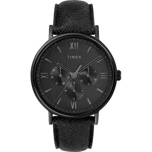 Timex Men's TW2T35200 Southview Multifunction Blackout Leather Strap Watch
