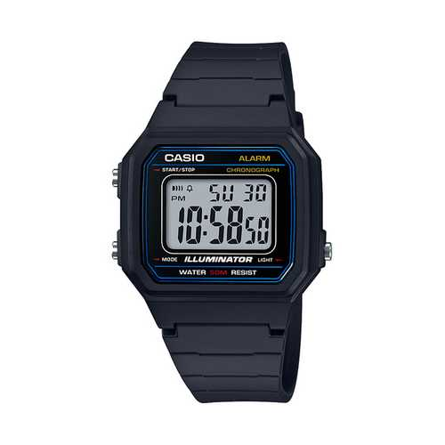 Casio Men's 'Classic' Quartz Resin Casual Watch, Color Black (Model: W-217H-1AVCF)