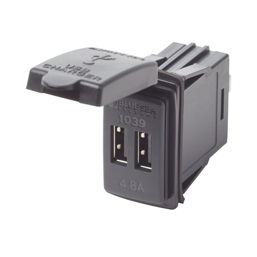 12/24VDC Dual USB Outlet, Switch Mount