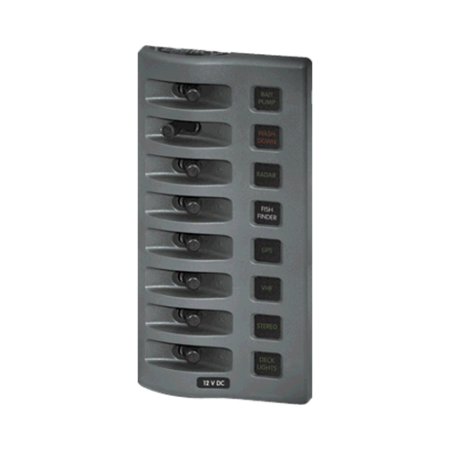 Sw Pnl, Toggle w/ Fuses, 8 Sw, Gray